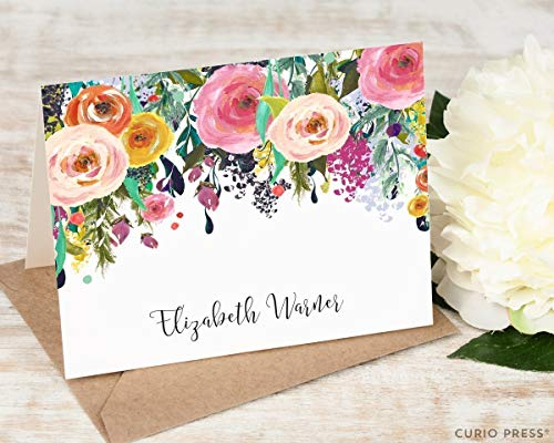 MULTI FLOWER FOLDED - Personalized Floral Elegant Stationery/Stationary Notecard Set