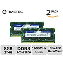 Timetec Hynix IC 8GB Kit(2x4GB) DDR3 1600MHz PC3-12800 Non ECC Unbuffered 1.35V CL11 1Rx8 Single Rank 204 Pin SODIMM Laptop Notebook Computer Memory Ram Module Upgrade(8GB Kit(2x4GB))