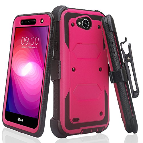 LG Fiesta 2 Case, LG K10 Power Case LG X Power 2 Case, LG Fiesta Case, LG X Charge Case Heavy Duty Belt Clip Holster, Full Body Coverage Rugged Protection for LG X Power 2/LG Fiesta 2 - Hot Pink/Black Black Rugged Holster