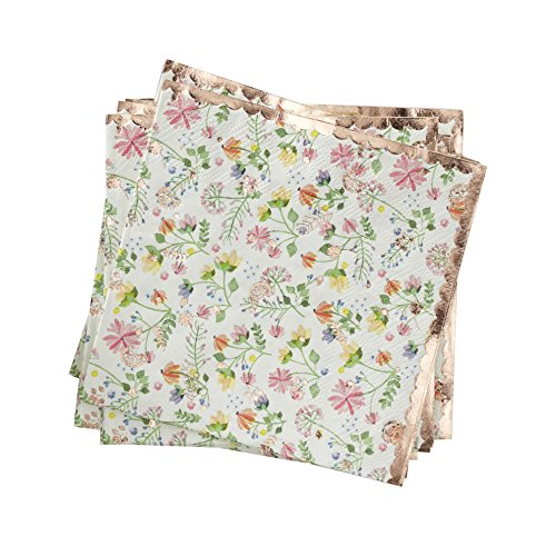 Floral & Rose Gold Foiled Paper Napkins - 16 - Floral Setting