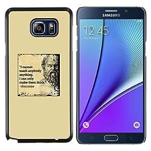 YiPhone /// Prima de resorte delgada de la cubierta del caso de Shell Armor - Cita de mármol amarillo Sócrates profunda inteligente - Samsung Galaxy Note 5 5th N9200