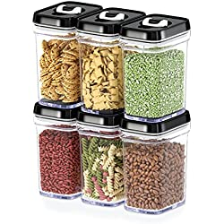 Dwellza Kitchen Airtight Food Storage Containers with Lids – 6 Piece Set/All Same Size - Medium Air Tight Clear Durable Plastic Food Containers with Black Lids - BPA-Free - Keeps Food Fresh & Dry
