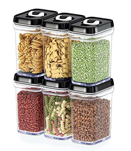 Dwellza Kitchen Airtight Food Storage Containers with Lids – 6 Piece Set/All Same Size - Medium Air Tight Snacks Pantry & Kitchen Container - Clear Plastic BPA-Free - Keeps Food - Storage Containers Cart