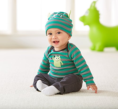 Gerber Baby Boys 3 Piece Bodysuit, Cap Pant Set