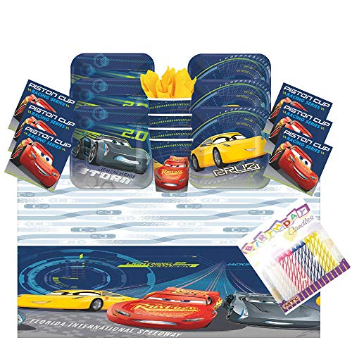 - Lobyn Value Pack Disney Cars 3 Party Supplies Pack Serves 16: Dessert Plates, Beverage Napkins, Cups, Table Cover and Birthday Candles