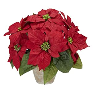 Nearly Natural 1268 Poinsettia with Ceramic Vase Silk Flower Arrangement, Red 8