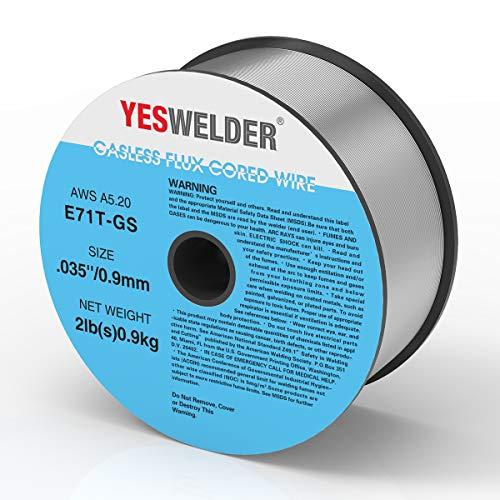 YESWELDER Gasless Flux Core Mig Wire, Mild Steel E71TGS.035-Diameter, 2-Pound Spool
