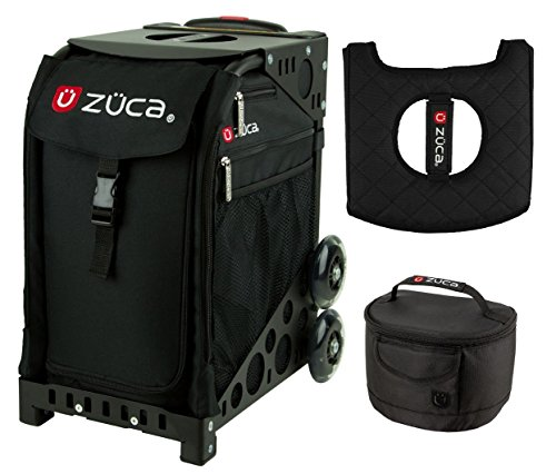 Zuca Sport Bag - Obsidian with Gift Lunchbox and Seat Cover (Black Frame) by ZUCA