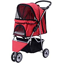 Giantex Three Wheel Pet Stroller Cart Cat Dog Foldable Carrier Travel Jogger 5 Color (Red)