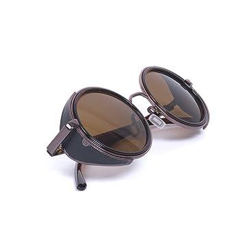 Classic Steampunk Vintage Stil inspiriert 50s rund silber & schwarz Rahmen grün Objektiv Gläser Blinder Circle Sonnenbrille Blau marineblau Einheitsgröße eQ3W9hygH
