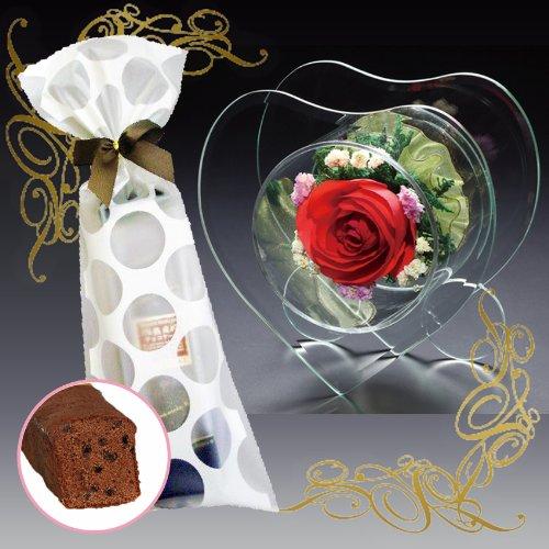 花とスイーツのセット プリザーブドフラワー(ハート型)&熟成ケーキ(誕生日 ギフト プレゼント フラワーギフト) B00JHBY75M