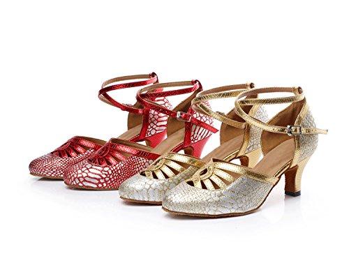 Minishion Tqj7055 Femmes Sangle Croisée Synthétique Tango Latin Danse De Salon Pompes Chaussures Rouge