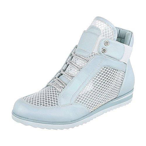 Zapatillas Design azul Ital altas Mujer claro 8Swxq4