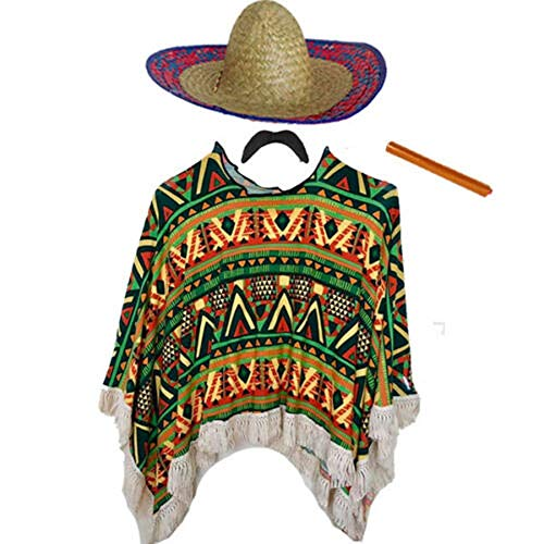 Adults Mens Mexican Fancy Dress Costume (Poncho, Moustache, Cigar & Sombrero) (One Size Adults)