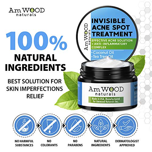Acne Spot Treatment Cream - Made in USA - Fast-Acting Formula for Clearing Severe Acne from Face & Body - Effective & Invisible Cystic Acne Cleanser Solution for Teens & Adults