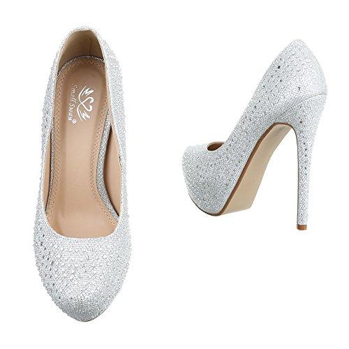 Damen Pumps Schuhe High Heels Stöckelschuhe Stiletto Plateau Gold Schwarz Rot Silber 36 37 38 39 40 Silber