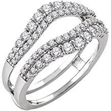 Solitaire Enhancer Round 1.00ct Simulated Diamond Ring Engagement Ring Guard Wrap Alloy 14k White Gold Plated Jacket