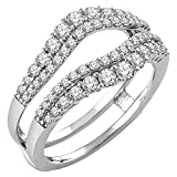 Solitaire Enhancer Round 1.00ct Simulated Diamonds Ring Guard Wrap 14k White Gold Plated Sterling Silver Jacket