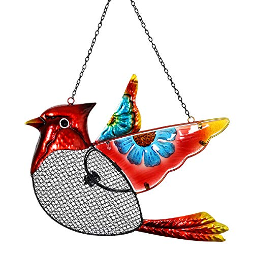Exhart Cardinal Bird Feeder - Metal Cardinal Hanging Bird Feeder w/Metal Mesh Seed Basket - Features Blue Flower Painting on Fiery Red Cardinal Bird, Garden Art Metal Bird Feeders, 15 x 18 Inches (Best Feeder For Cardinals)