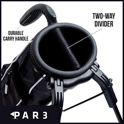 Par3 Golf [Nuevo] Bolsa ligera de golf Sunday con soporte - Bolsa de golf fácil de llevar y duradera Pitch n Putt - Bolsa de soporte de golf para campo de prácticas, Par 3 y cursos ejecutivos - 31.5 de alto