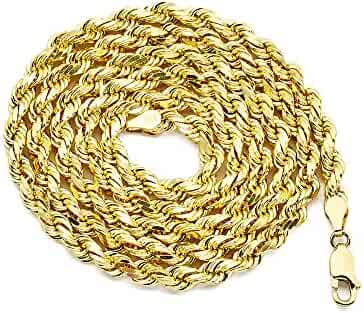 LoveBling 10K Yellow Gold 5mm Diamond Cut Rope Chain Necklace with Lobster Lock