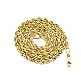 LOVEBLING 10K Yellow Gold 5mm 24'' Solid Diamond Cut Rope Chain Necklace with Lobster Lock