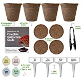 Planters' Choice Bonsai Tree Kit - Complete Kit to Easily Start Growing 4 Distinctive Bonsai Trees from Seed w/ Comprehensive Instruction Booklet (Bonsai Trimmer Included)