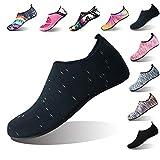 Summer Outdoor On-Slip Rubber Sole Water Shoes Barefoot Aqua Socks Beach Swim Surf Yoga Shoes Men Women Kids (M(W:7.5-8.5,M:6.5-7.5), Black dot)