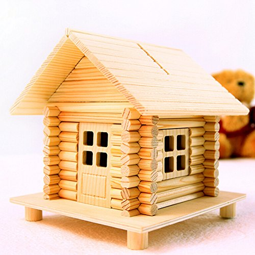 Remeehi DIY Assmbled Crafts Wood Model Log Cabin Educational Toy Coin Box ()