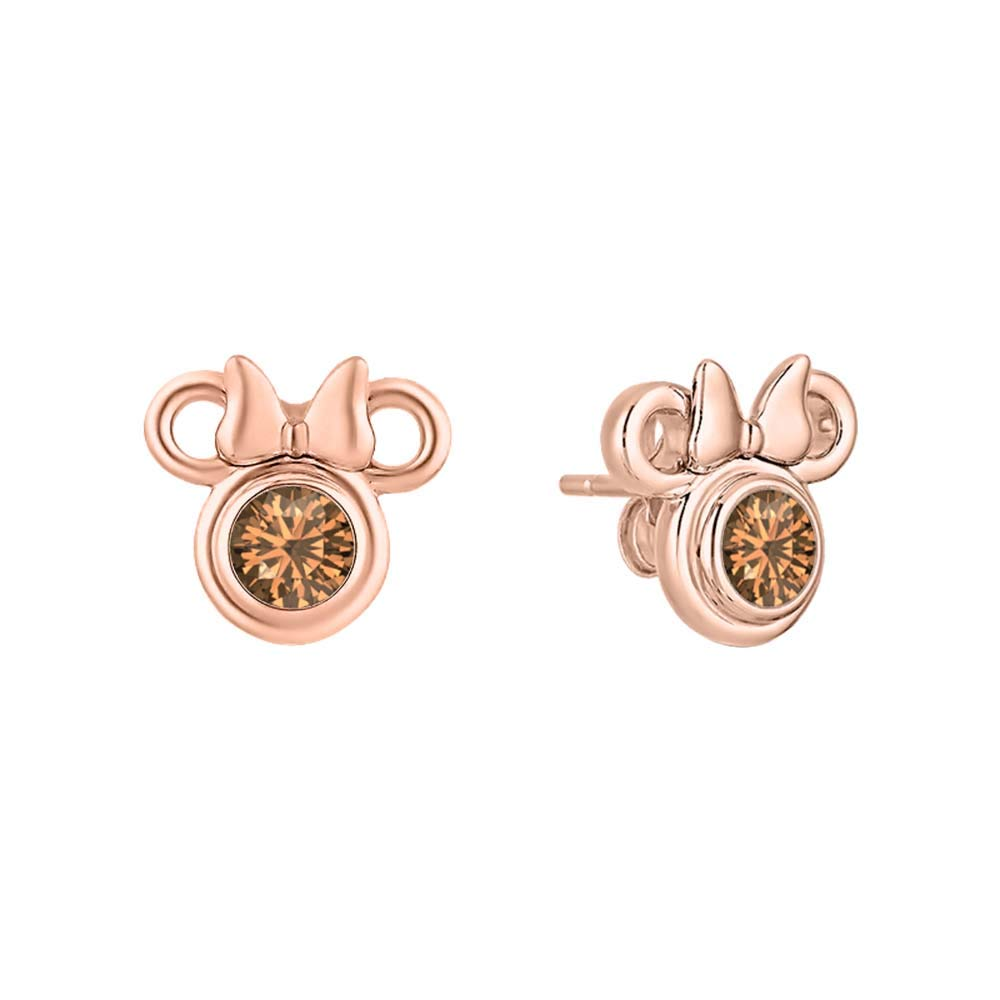 Mickey or Minnie Mouse Stud Earrings for Women Girl Birthday Gift 14k Rose Gold Over .925 Sterling Silver Gemstones Earrings