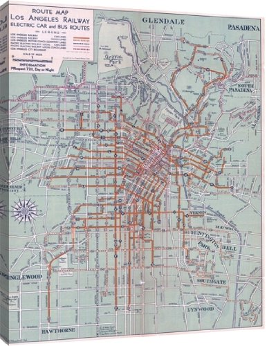 Amazoncom Route Map of Los Angeles Railway Electric Car and Bus