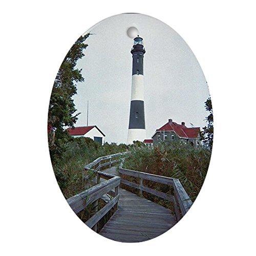 - hiusan Novelty Decoration Fire Island Lighthouse Ornament Christmas Ornaments Oval Porcelain Ceramic Keepsake 3 Inches