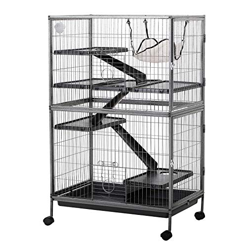 PawHut 50″ 4 Tier Steel Plastic Small Animal Pet Cage Kit with Wheels – Silver Grey Hammertone
