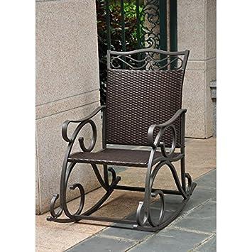 Amazon.com : Lisbon Resin, Wicker and Steel Rocking Chair : Living ...