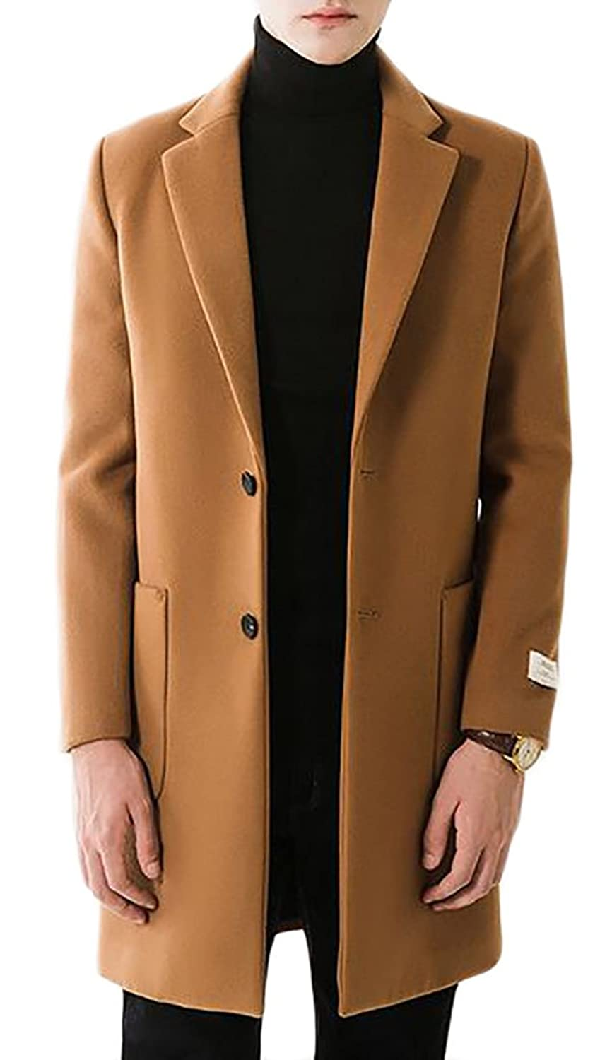 Xqs Mens Lapel Solid Winter Outdoor Two Button Mid Long Overcoat Peacoat by Xqs