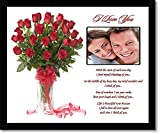 I Love You Gift for Wife, Husband, Girlfriend, Boyfriend – Love Poem with Rose Design – Add Photo