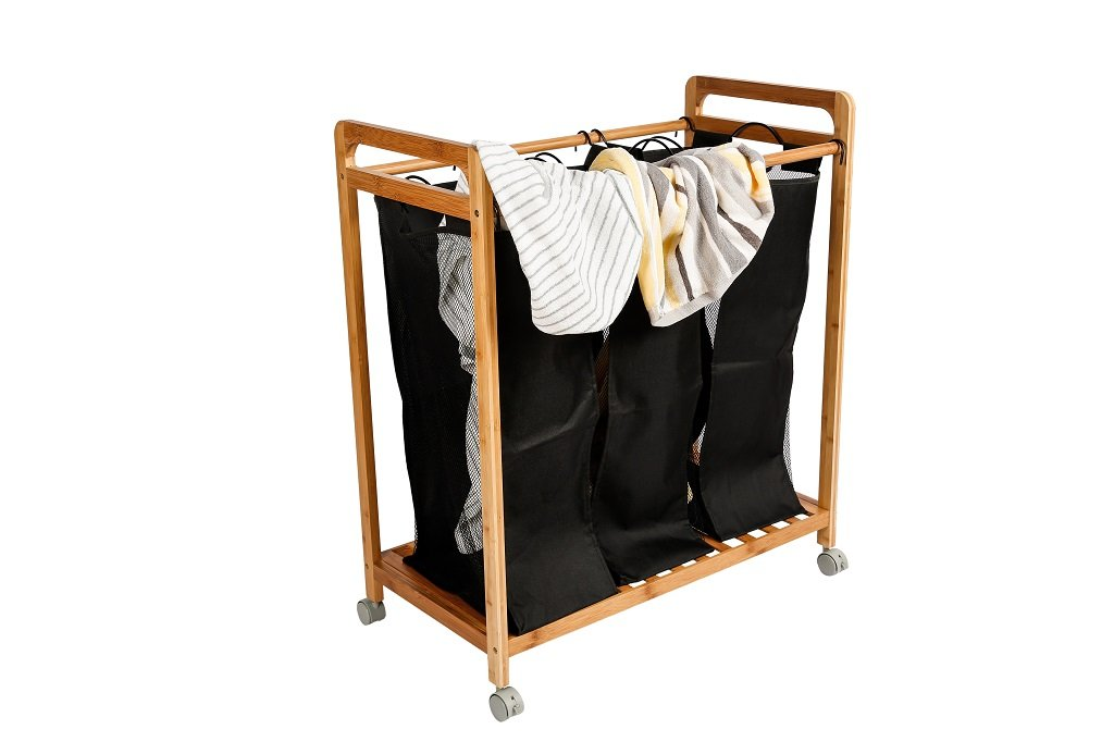 Laundry Hamper Sorter Cart Clothes Basket Storage with 3 Bags and Wheels Bamboo Heavy Duty Frame - Breathable mesh:The laundry bag with ventilation. And the laundry cart has 3 bags makes sorting easy. Orientation Wheels: The wheels of laundry basket can keep on the spot and help you easily carry clothes to laundry room. Washable Bag: The laundry hamper with washable and removable nylon bag. Easy to wash by hand or put it into washing machine and dry soon. - laundry-room, hampers-baskets, entryway-laundry-room - 51fwDa9im5L -