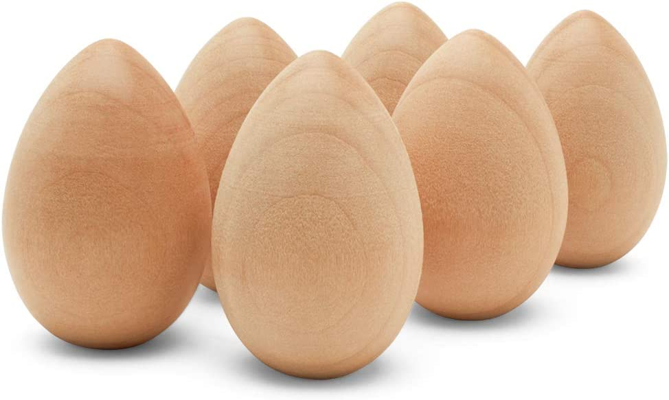 Unfinished Wood Easter Craft Fake Eggs 2-inch, Pack of 50 Flat Bottom Wooden Eggs for Crafts and Easter Egg Ornaments, by Woodpeckers
