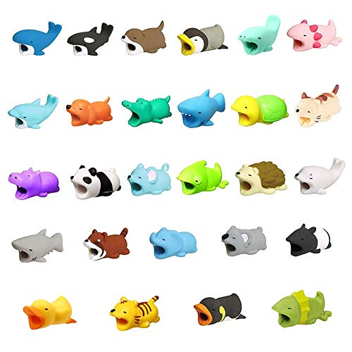 Oksale Cable BITE for iPhone Cable Cord Cute Animal Phone Accessory Protects Cable Accessory (27PCS, 1.5 2 40 mm)