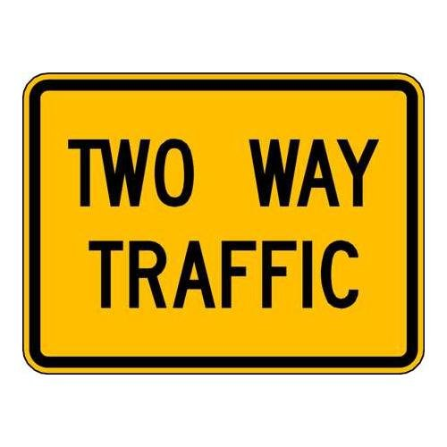 Brady 115423 Traffic Sign (2 Way Traffic), 18'' x 24'', Black/Yellow
