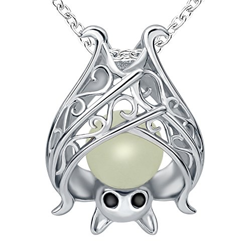 Sterling Silver Bat Pendant Charms Unique And Unisex vampire diaries Necklace damon ghost Christmas For Women And Girls And Mother With Glow In The Dark Long Jewelry Gift Chain 18 Inch (Unique Necklaces)