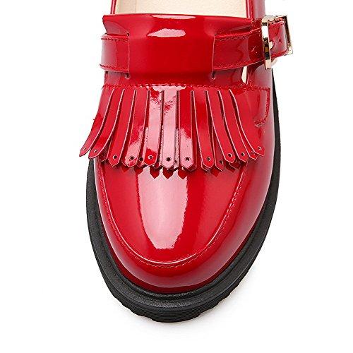 AllhqFashion Mujeres Puntera Redonda Cerrada Hebilla Borla Mini Tacón De salón con Borlas Rojo