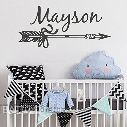 BATTOO Personalized Arrow Name Wall Decal - Kids Name Wall Decal - Nursery Wall Decal Arrow Decor - Children Wall Decal - Nursery Wall Decals