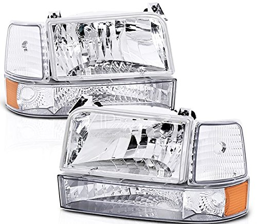 1992-1996 Ford Bronco HEADLIGHTS F150 F250 F350 FACTORY STYLE Clear Euro 6 piece Corner Bumper Head Light set Left and Right (F350 Euro Headlights)
