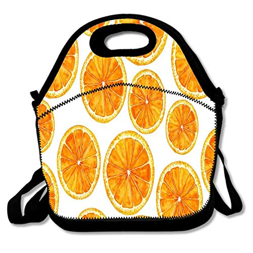 Insulated Neoprene Lunch Bag/Lunch Box/Lunch Tote/Picnic Bags Cooler Warm Pouch Lightweight Handbag Gourmet Food Containers for Women,Girls,Kids - Hand-painted Orange Slices on White Background