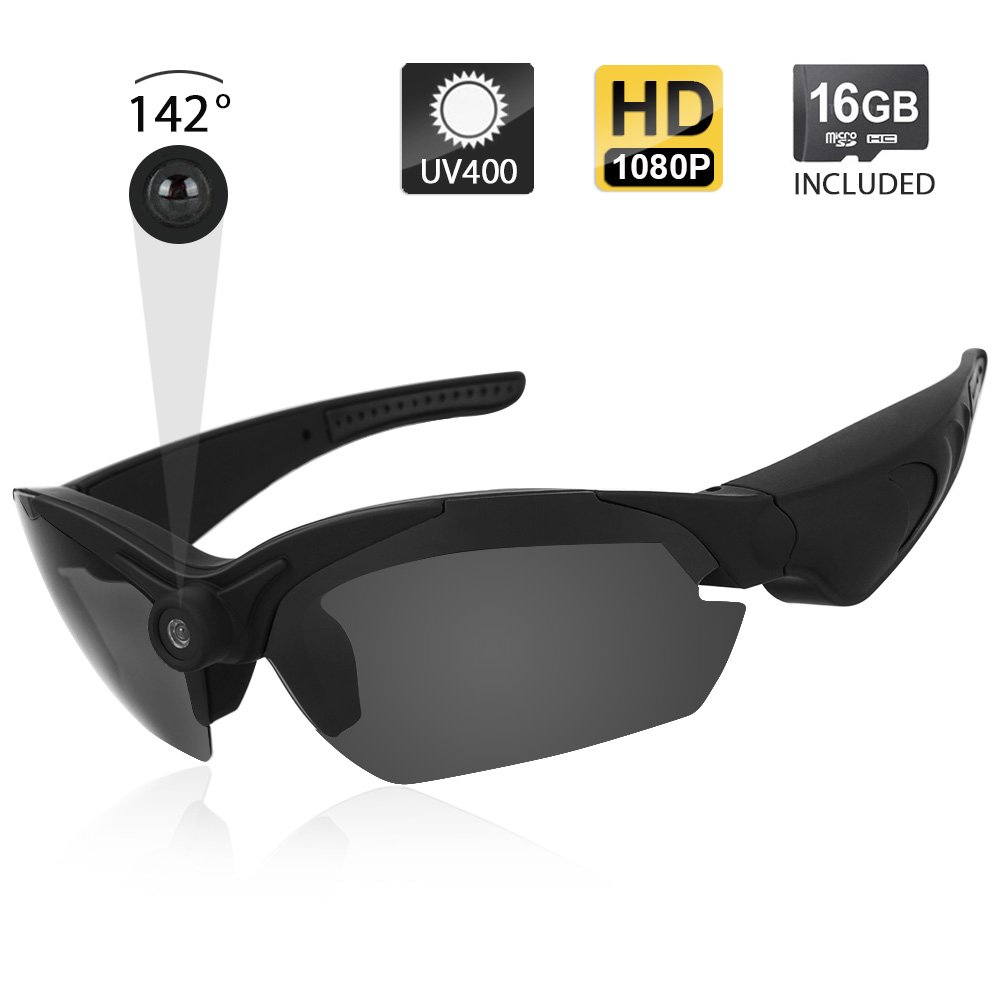 Toughsty 1080P HD Eyewear Action Camera Sunglasses Video Recorder with 142 Degree Wide View Angle and Photo Taking Function 16GB Memory Card Included by TOUGHSTY