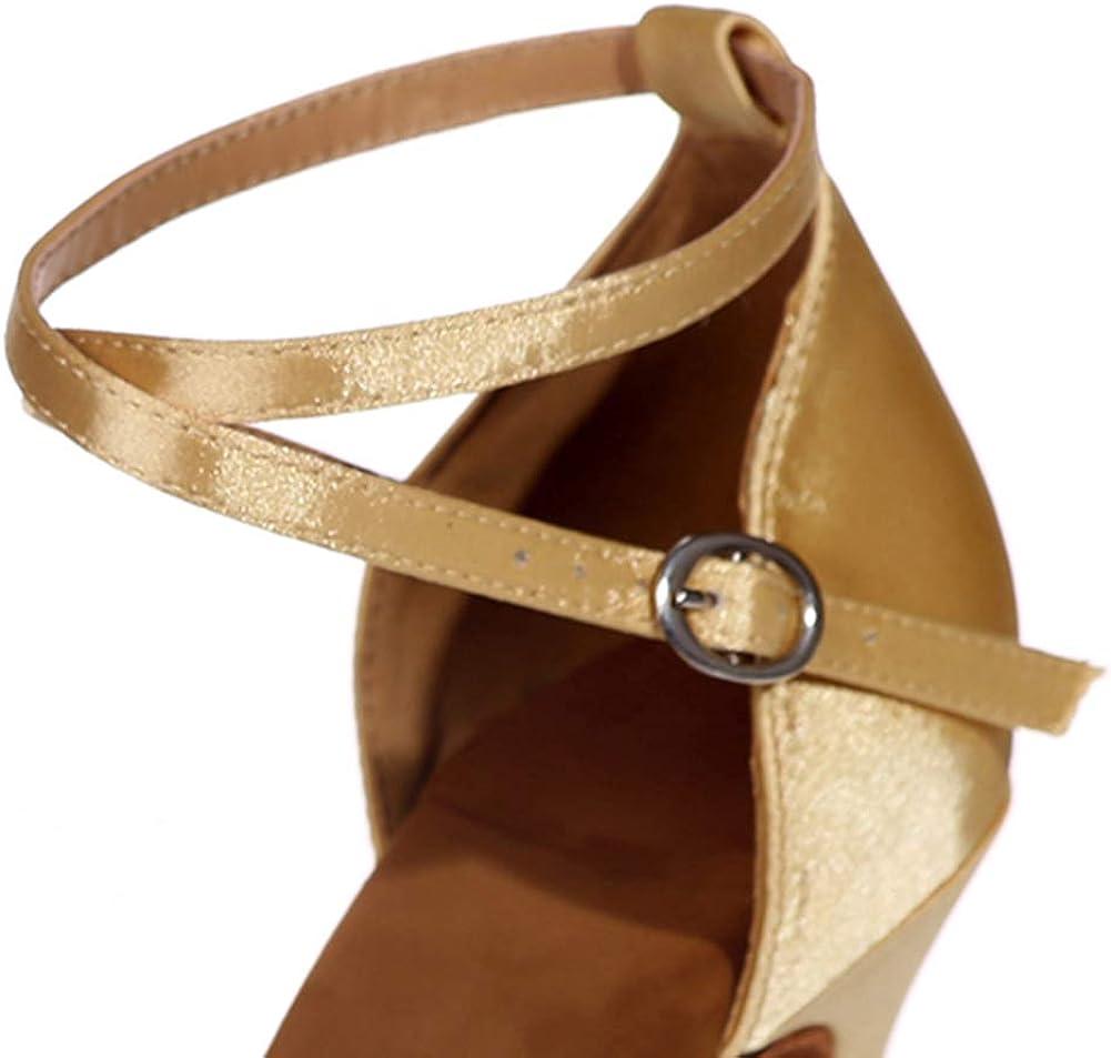 Estándar Dama América Danza De La Salsa del Salón De Baile Zapatos, Rendimiento Suave Suela Antideslizante De Gamuza Zapatos De Baile De Tango Gold