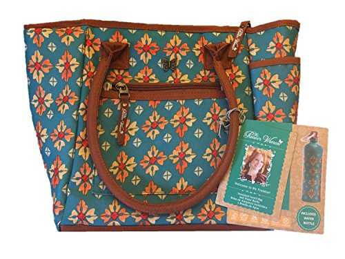 Pioneer Woman Insulated Lunch Bag Tote And Water Bottle - Vintage Geo