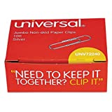 Case of 250 Packs,1000 per pack, Universal,Nonskid Paper Clips, Wire, Jumbo, Silver