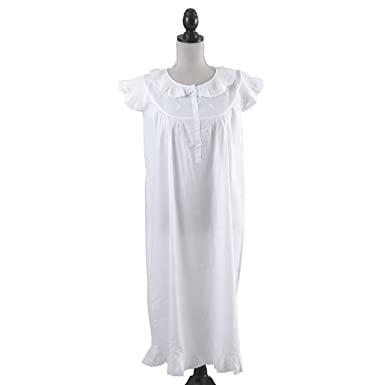 85e4ee5a03c stylesilove Handmade Girls  Embroidered Night Dress White - Age 2-9 - (Ages